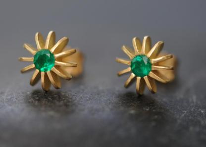 Emerald Gold Stud Earrings Sea Urchin Stud Earrings