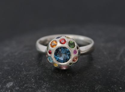 Multi-Colour Cluster Ring in Silver with London Blue Topaz and Semi-Precious Stones