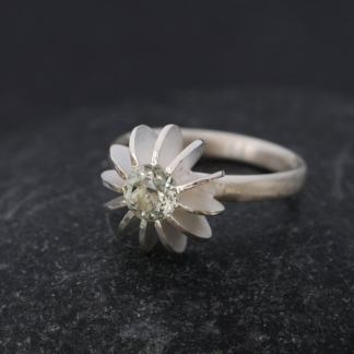 green amethyst sea urchin ring silver