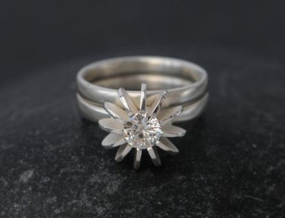 moissanite sea urchin wedding set in silver