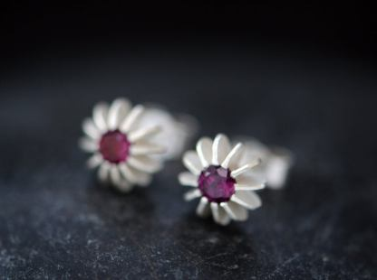 rhodolite garnet sea urchin earrings in silver