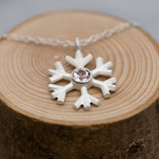 morganite snowflake necklace silver