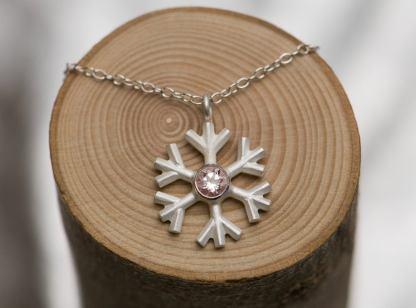 morganite snowflake necklace silver