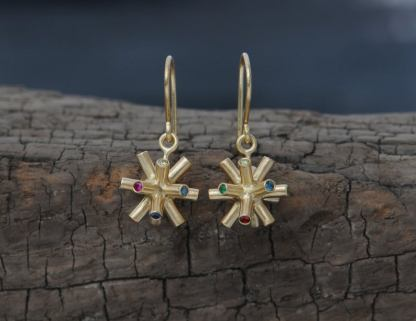 multi coloured gem particle collision earrings in 18K YG