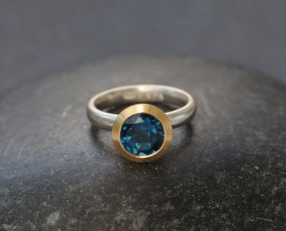 LBT halo ring in 18K YG and silver