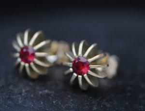 ruby sea urchin stud earrings in 18K gold