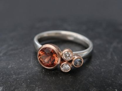 sunstone cluster ring 18K rose and white gold