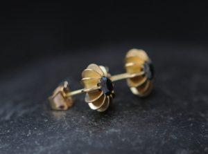 black diamond sea urchin stud earrings in 18K yellow gold