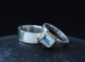 Aquamarine 6x8 oct cut wedding set in 18K Gold
