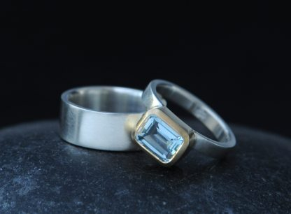 Aquamarine 6x8 oct cut wedding set in 18K Gold