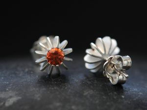 Orange sapphire sea urchin Silver Earrings