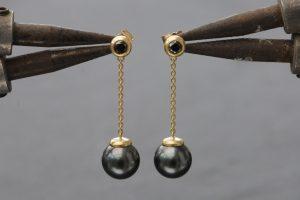 black pearl and black diamond drop earrings in 18K yellow gold