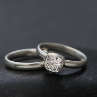 moissanite 6mm cushion wedding set in platinum
