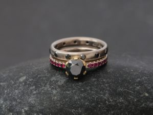 black diamond and ruby wedding set with black diamond eternity band