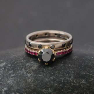 black diamond and ruby wedding set with black diamond eternity band