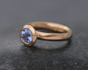 cornflower blue sapphire halo ring 18K rose gold
