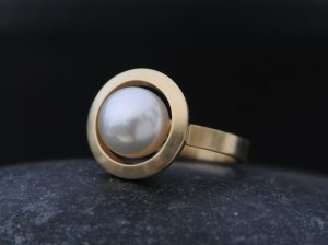 white pearl halo ring 18K yellow gold