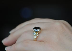 black diamond oval cluster ring with sapphires and diamonds 18K YG