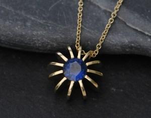 blue sapphire sea urchin necklace 18K yellow gold