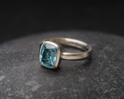 blue zircon cushion cut 9x7 ring 18K white gold