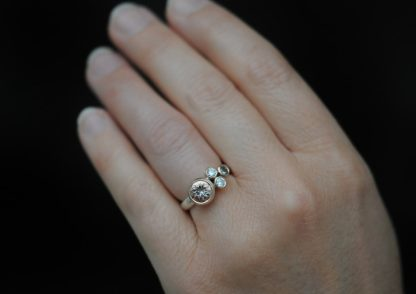 morganite cluster ring in 9K rose gold and silver on hand