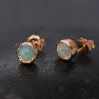 opal cup earrings in 18K rose gold