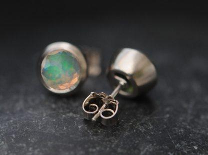 opal cup earrings in 18K white gold