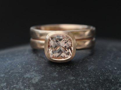 morganite 8mm wedding set in 18K rose gold