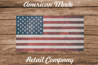 American flag on wood background with American Made Retail Company text