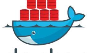 Imagem da baleia azul do Docker com várias base de dados Oracle em cima dela.