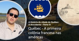 Imagem mostrando a bandeira de Québec, o Forte Cartier Roberval e o autor desse artigo, William
