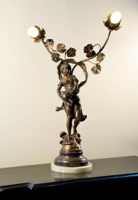 "19th c. French bronze figural lamp, signed ""F. Moreau ..."