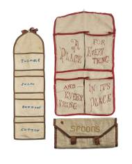 Lot 87: Wooden Carrier and Three Sister's Fancy Goods