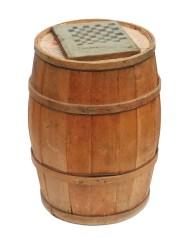 Lot 198: 19th C. Flour Barrel and Checkerboard