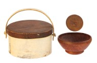 Lot 212: Three Early Woodenware Pieces