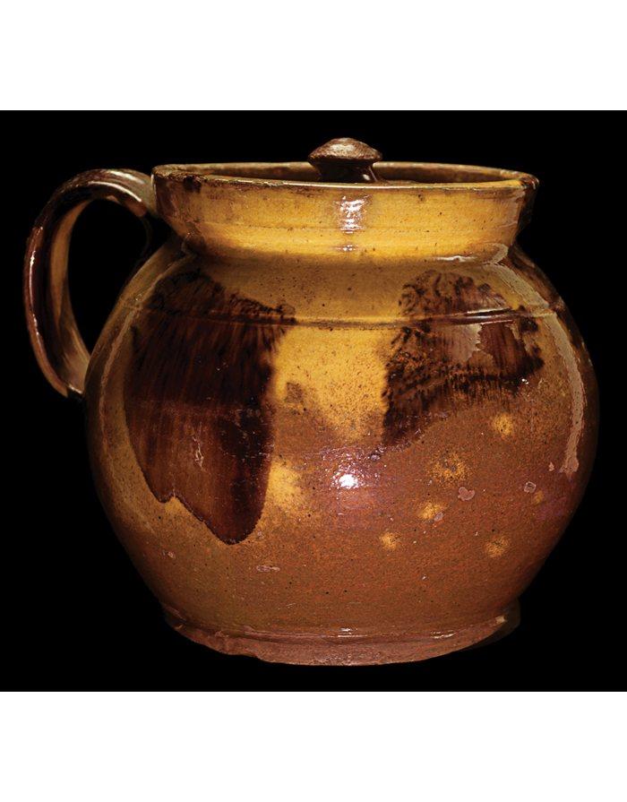 Lot 23E: Early New England Redware Bean Pot