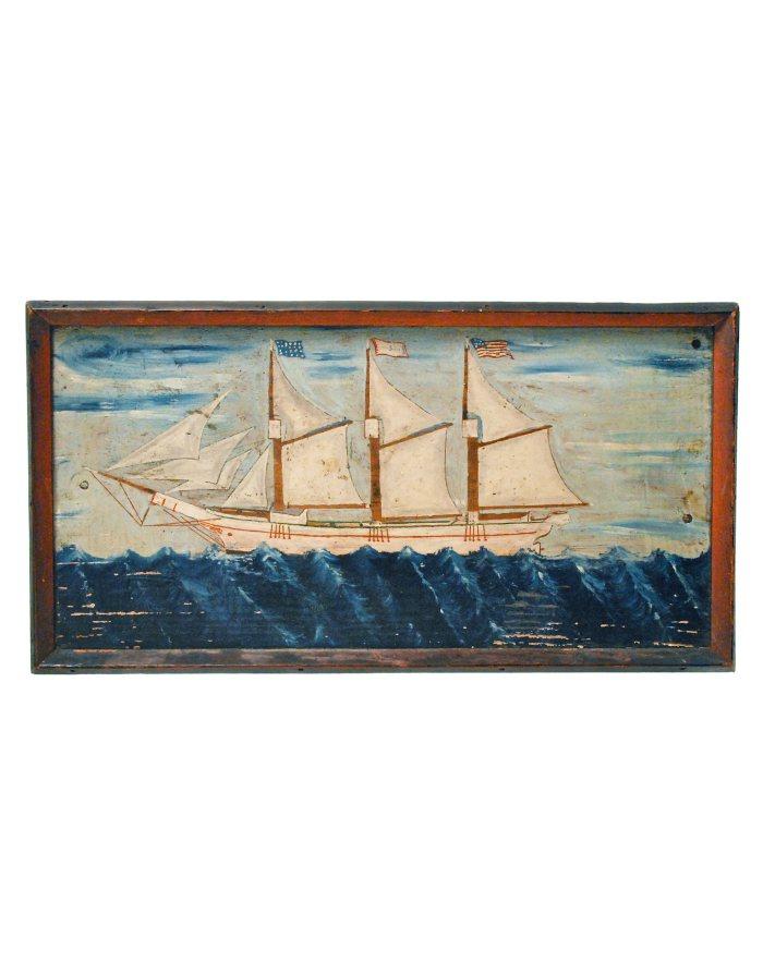 Lot 49: Oil of Ship at Full Sail
