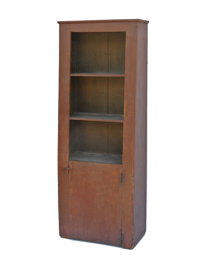 Lot 64: Early Cant Back Cupboard