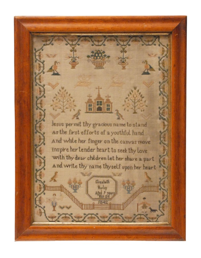 Lot 65: 19th C. Needlework Sampler