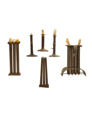 Lot 86: Early Tin and Steel Candlesticks and Mold
