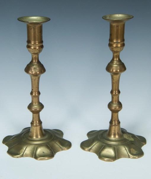 Lot 16: Pair of 18th c. Brass Candlesticks