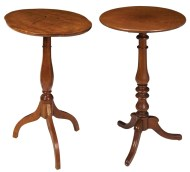 Lot 182: Two 19th c. Cherry Wood Candlestands