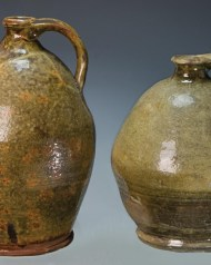 Lot 28: Two Redware Ovoid Jugs