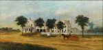 Lot 31: 19th C. Oil on Canvas Brockton, MA Pastoral Scene