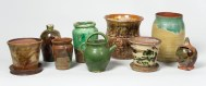 redware, jars, planters, bank, bottle