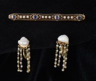 gold, 14k, earrings, pin, pearl, soloman, lincoln