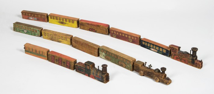 carved, painted, wood, toy, trains