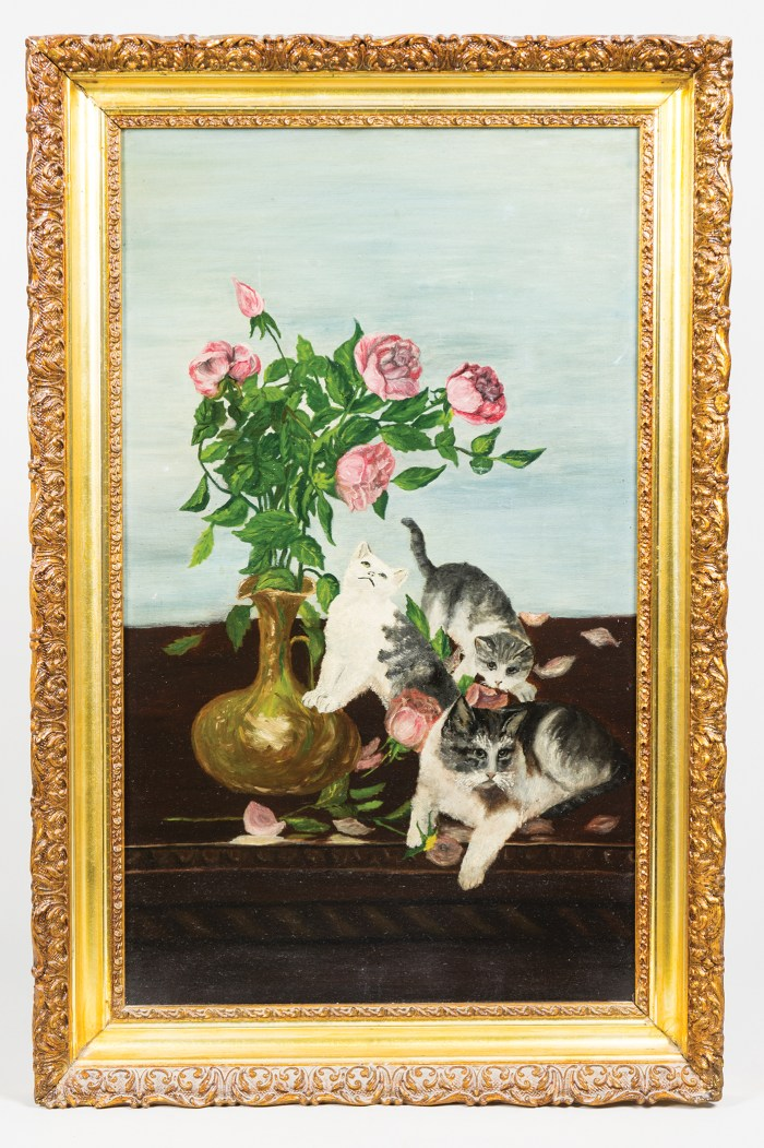 oil, academy, board, painting, cats