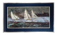 litho, print, sailboats, silent blue