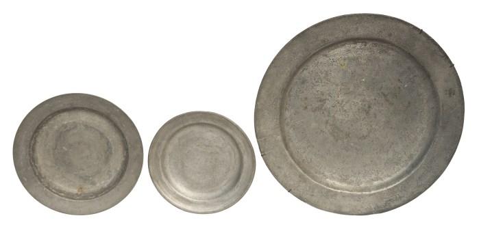 pewter, beakers, porringers, plates